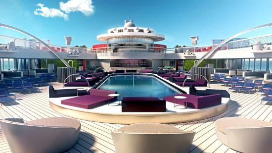 Virgin Voyages LGBTQ+ cruise: Scarlet Lady pool deck
