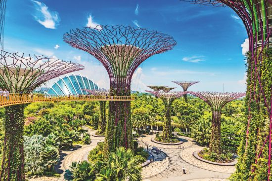 2020 holiday destinations: Walkway at The Supertree Grove at Gardens by the Bay in Singapore near Marina