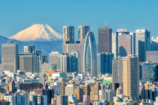 Tokyo skyline with snow-capped mountain, Asia cruise