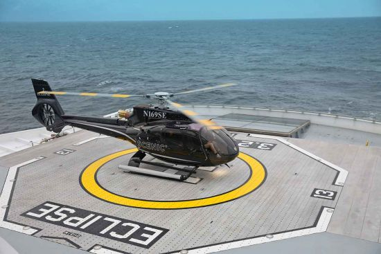 Scenic Eclipse, helicopter