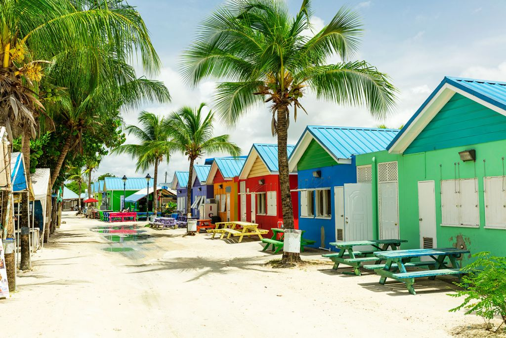 Caribbean cruises, colourful houses in Barbados