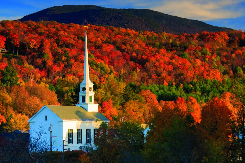Church with autumn trees