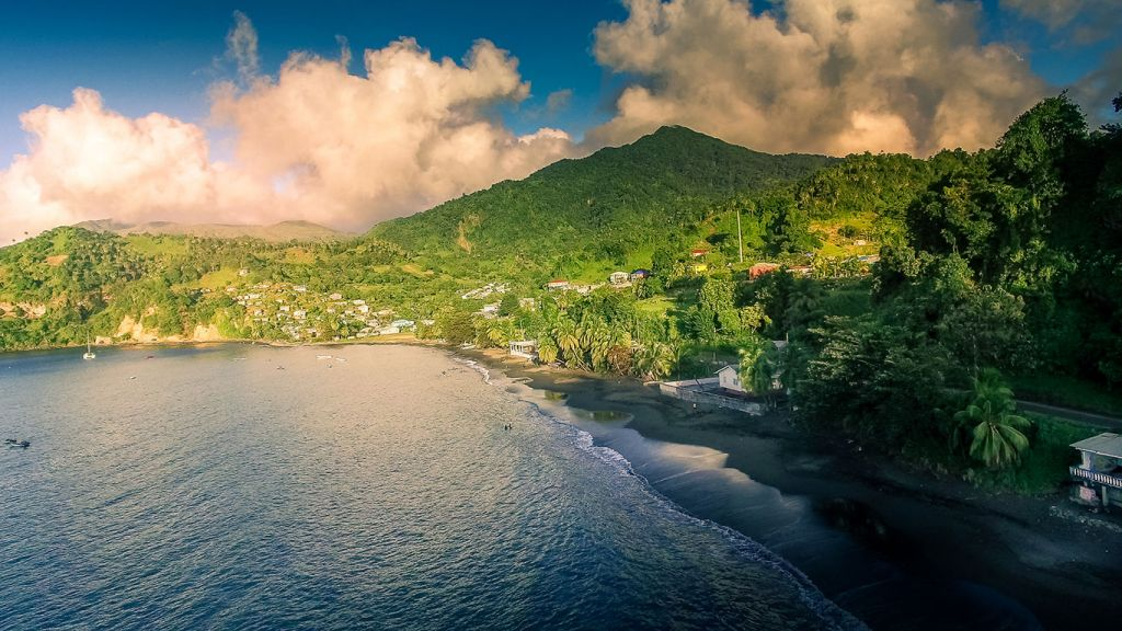 Cumberland bay in St-Vincent and the Grenadines Caribbean islands