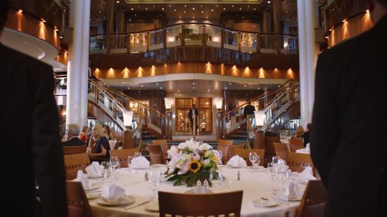 Cunard cinema advert: dining room