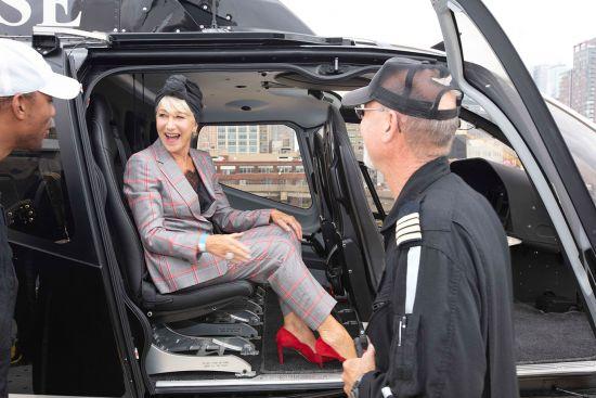 Helen Mirren, Scenic Eclipse, helicopters
