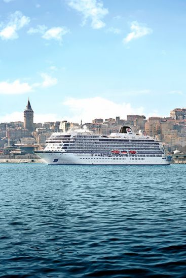 Viking Cruises ocean ship sialing in Istanbul