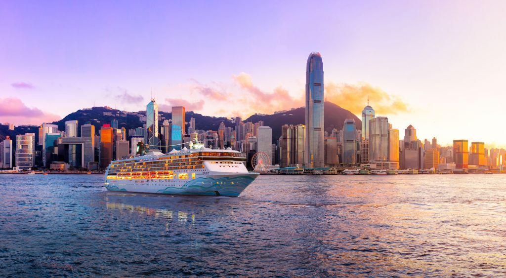 Norwegian Spirit on Hong Kong skyline