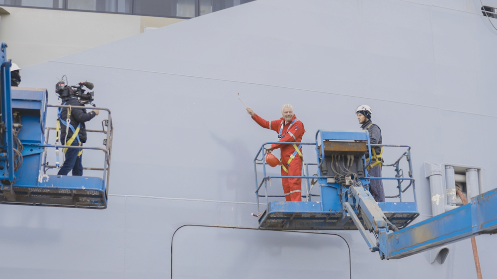 Virgin Voyages Richard Branson painting Scarlet Lady hull