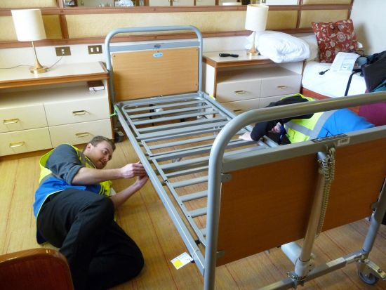 Bed assembled on ship